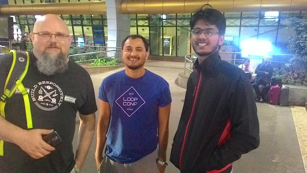 Topher, Joshua, and Kumar at the Pune Airport at 4am