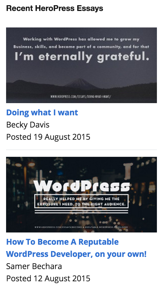 Rendering of widget showing banner, title, contributor, and date,