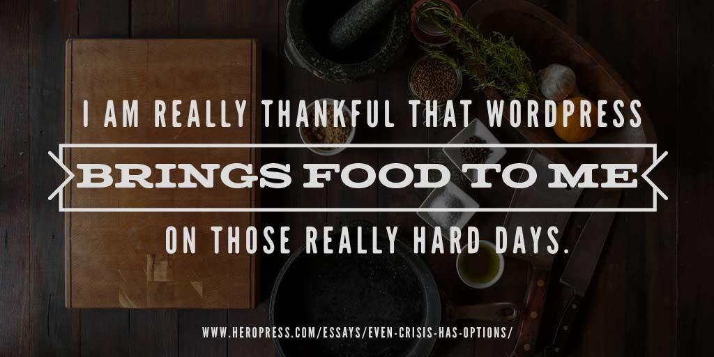 Pull quote: I am really thankful that WordPress brings food to me on those really hard days.