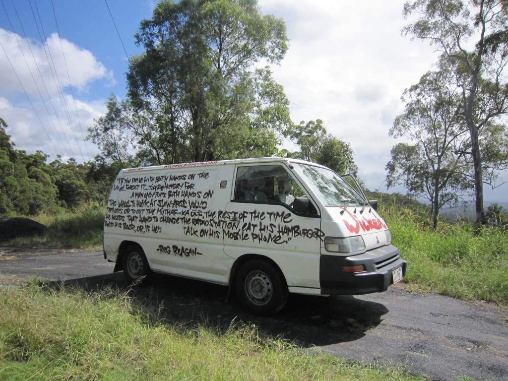Wicked Camper with saucy text all over the side