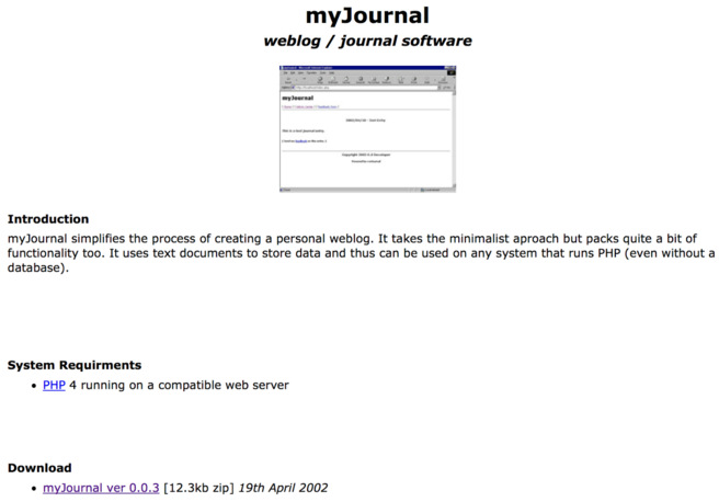 Screenshot of myJournal setup