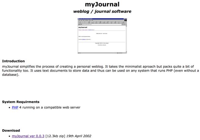 Screenshot of myJournal setup