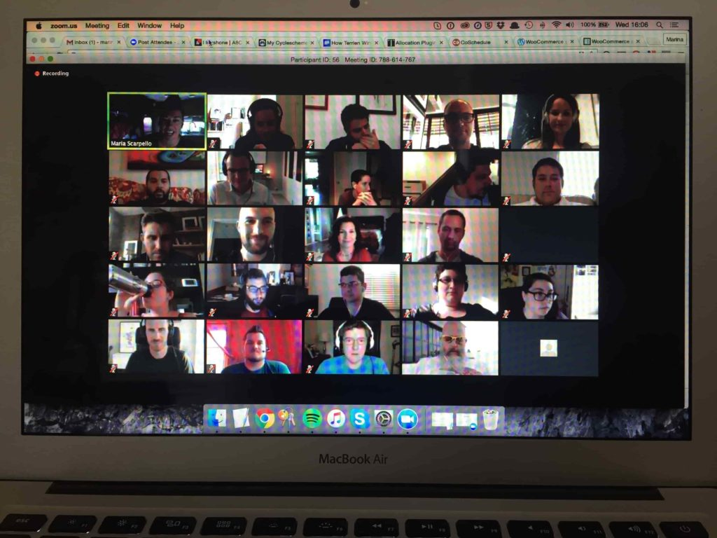 On-screen grid of faces in a google hangout