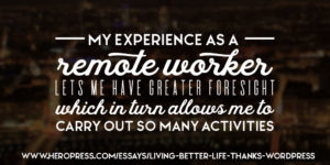 My experience as a remote worker lets me have greater foreight which in turn allows me to carry out so many activities.