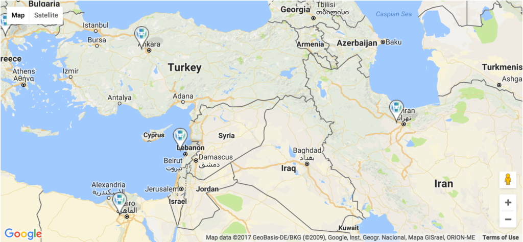 HeroPress pins on a google map in the Middle East