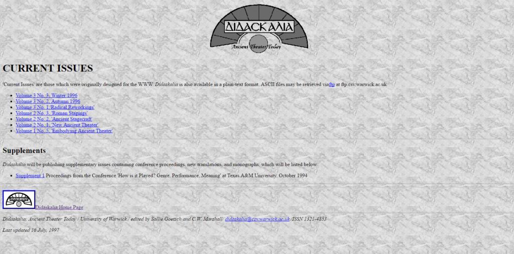 Sallie's first website, Didaskalia, as it was in 1998