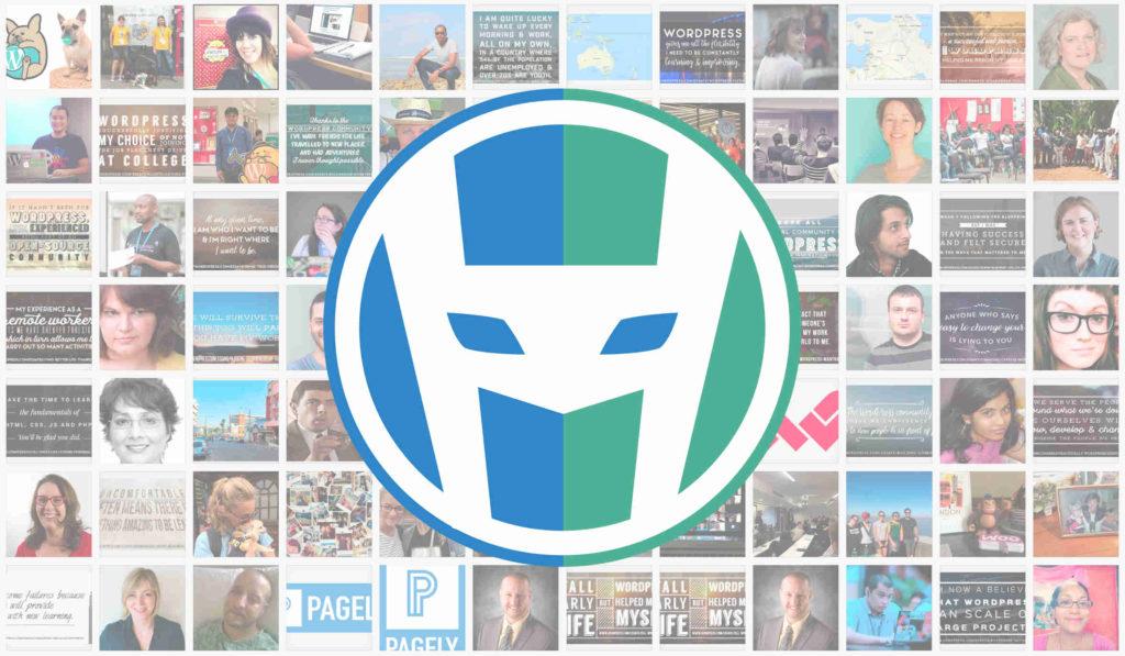 HeroPress Logo laid over icons of contributors