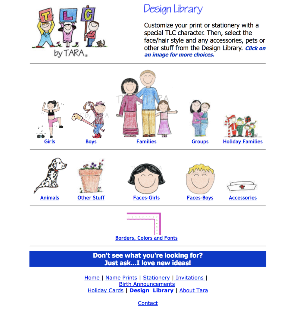 Example of design library by Tara Claeys