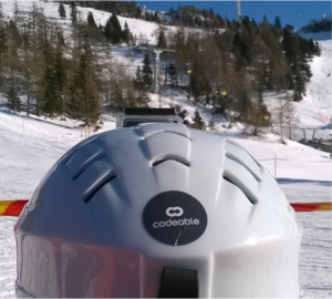 Codeable sticker on a ski helmet