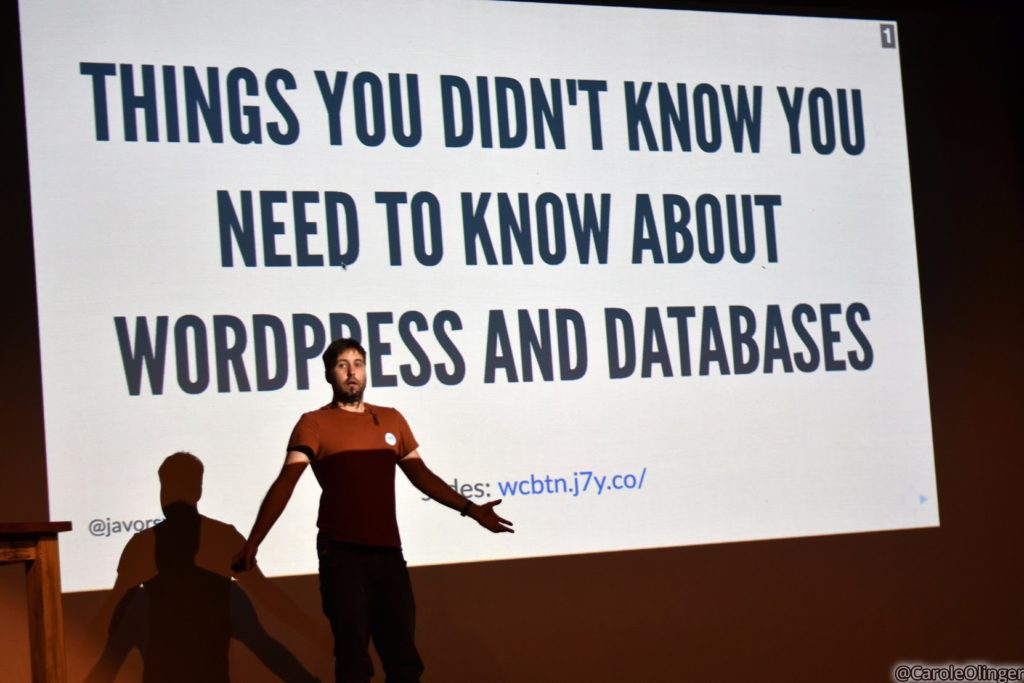 Gabor, on stage at WordCamp Brighton