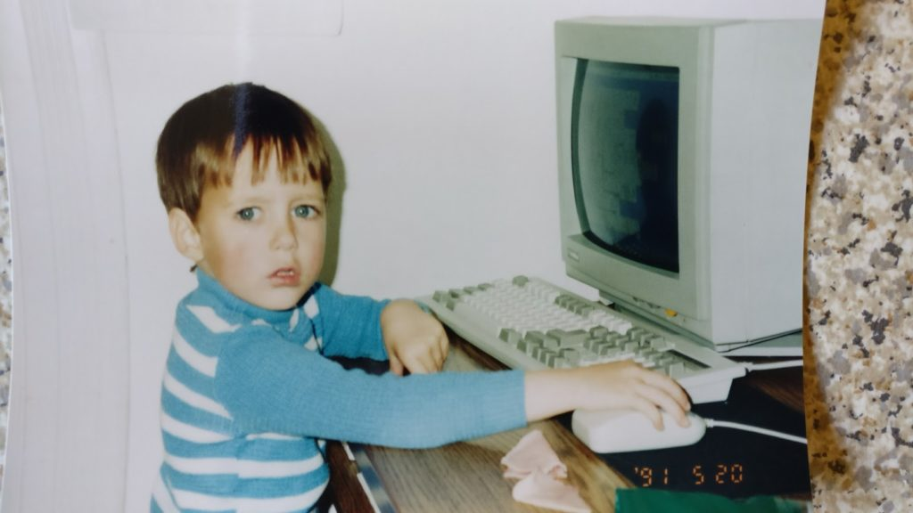 Gabor about age 3, at a computer