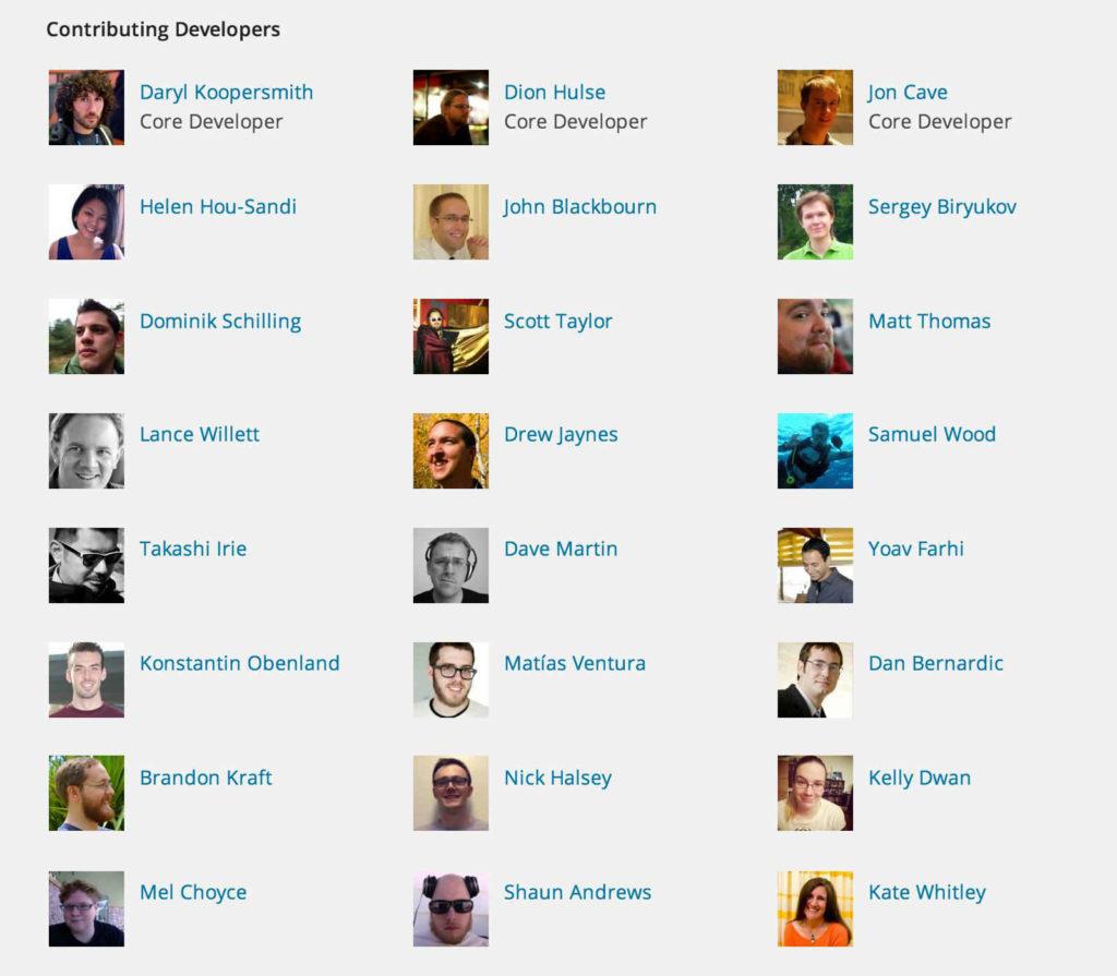 WordPress 4.8 Credits