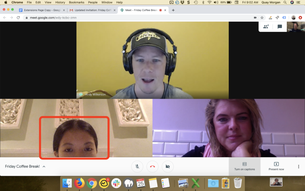 Screenshot of a group video chat.