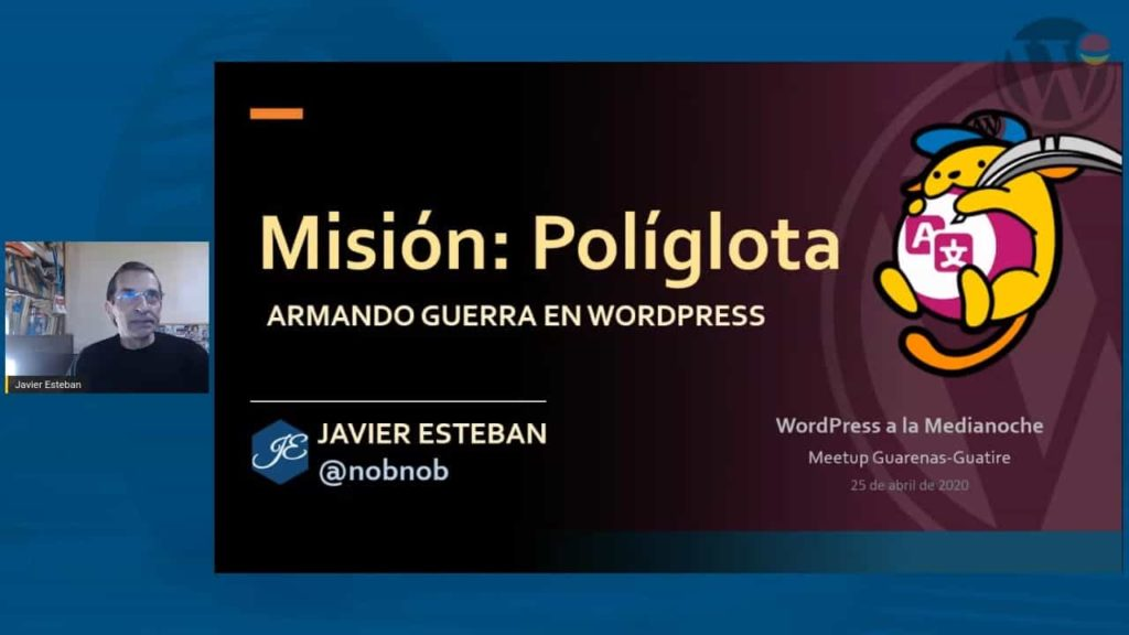 Javier Esteban at an online event talking about translations in WordPress.