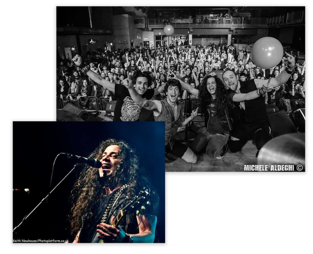 Two images in one. Vito with long hair playing guitar, also raving fans in a crowd
