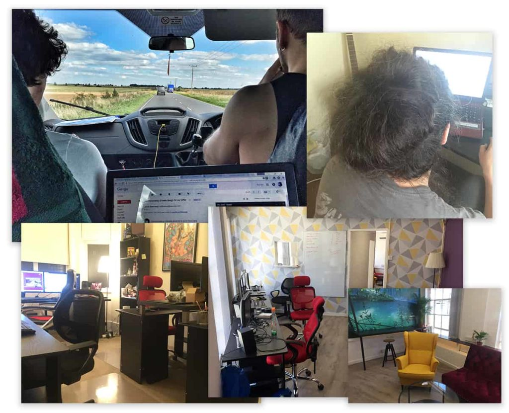 5 images in one. A few of Vito's laptop while working in the back seat of a car, 3 images of Vito's office, one of Vito working at a computer.