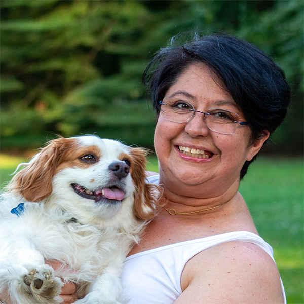 Estela Rueda with dog Bruno