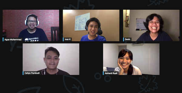 5 people in a video chat