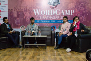Sunita Rai on a panel at WordCamp