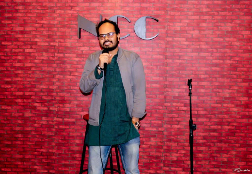 Gobinda doing standup comedy